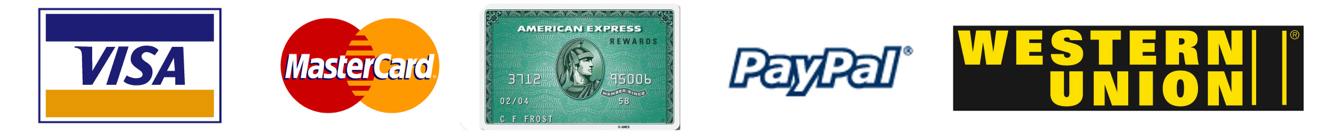 Visa, MasrerCard, AmEx, PayPal